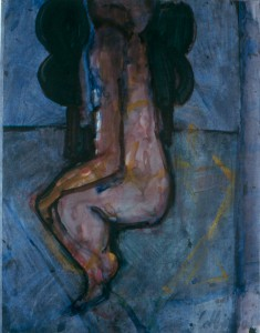 Ger Meinema - Beeldend kunstenaar - Zittend in landschap - Acryl op papier -75x87