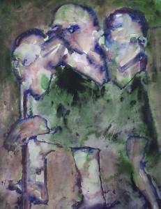 Ger Meinema - Boosaardig kinderspel -Acryl op papier - 75x87