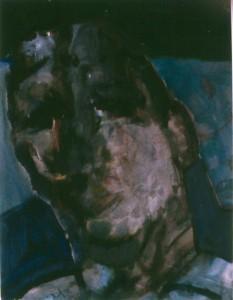 Ger Meinema - Kop in flitslicht - Acryl op papier - 75x87