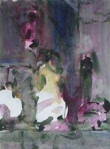 Toneel-schets - Acryl op papier - 75x87