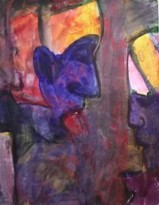 De tong - Acryl op papier - 75x87