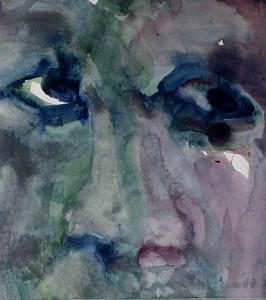 Ger Meinema - Kop - Acryl op papier - 30x34
