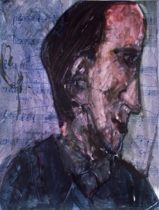 Ger Meinema - De musicus - Acryl op papier - 75x87