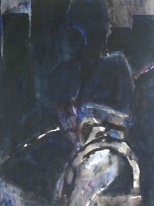 Zwembad bij nacht - Acryl op papier - 75x87