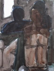 Interieur - Acryl op papier - 75x87
