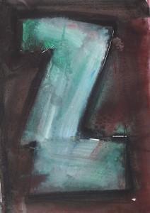 Ger Meinema - Het gezicht van Zèta - Acryl op papier - 25x38