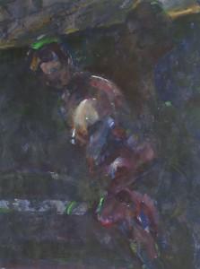 Hollend naakt - Acryl op papier - 75x87