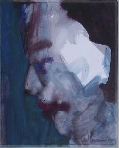 Ger Meinema - Beeldend kunstenaar - Kop - Acryl op papier - 25x35