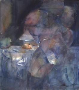 Naakt voor tafel - Acryl op doek 80x90