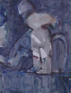 De sprong - Acryl op papier - 75x78