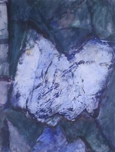 Kop horizontaal - Acryl op papier - 75x78