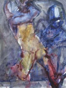 Rennen - Acryl op papier - 75x87