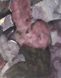 Vrouw op bank - Acryl op papier - 75x87