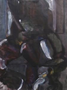 Melancholisch interieur - Acryl op papier - 75x87