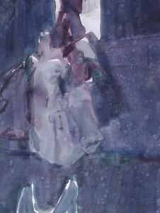 Regenachtige toneelscène - Acryl op papier - 75x87