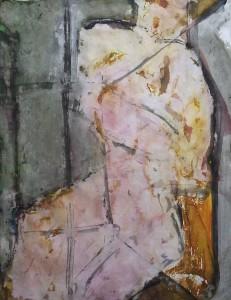 De kimono - Acryl op papier - 75x87