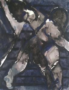 Twee figuren nr.2 - Acryl op papier - 75x87