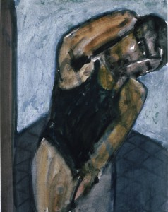 Ger Meinema - De oefening - Acryl op papier - 75x87