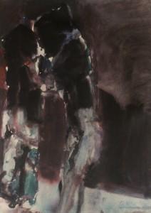 Ger Meinema - Het vuurtje - Acryl op papier - 75x87