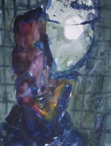 Man achter lamp - Acryl op papier -75x87