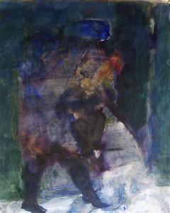 Figuur in het donker - Acryl op papier - 75x87