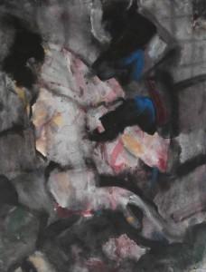 Straatincident - Acryl op papier 75x87