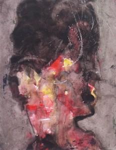 Kop nr.2 - Acryl op papier - 75x87