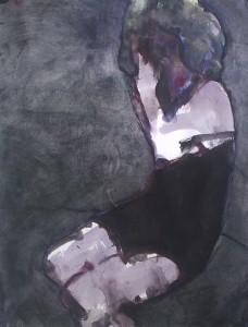 Meisje met grijze pruik - Acryl op doek - 75x87