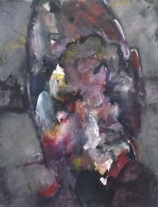 Kop - Acryl op papier - 75x87