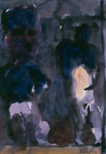 Ger Meinema - Beeldend kunstenaar - Twee figuren in avondlicht - Acryl op papier - 75x87