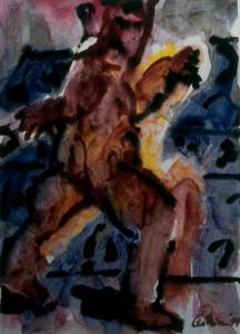 Ger Meinema - Beeldend kunstenaar - Vrolijke passant - Acryl op papier - 75x87