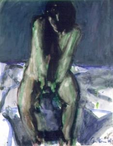 Ger Meinema - Beeldend kunstenaar - Zittend op bed - Acryl op papier - 75x87